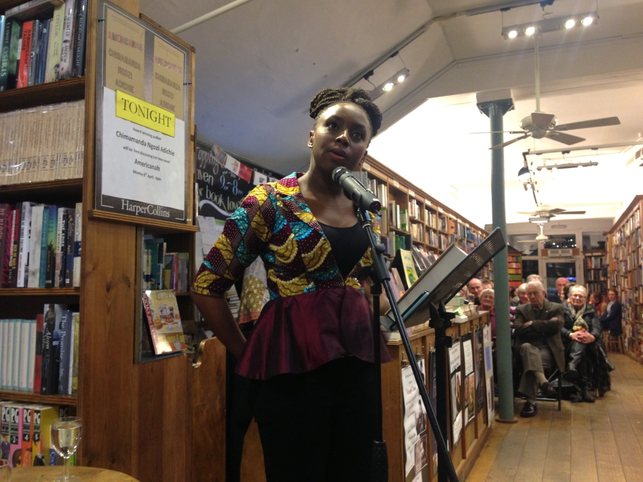 Adichie at Topping & Co, Bath. 8th April 2013.