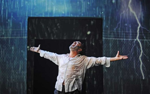 David Haig as Lear, embracing the storm