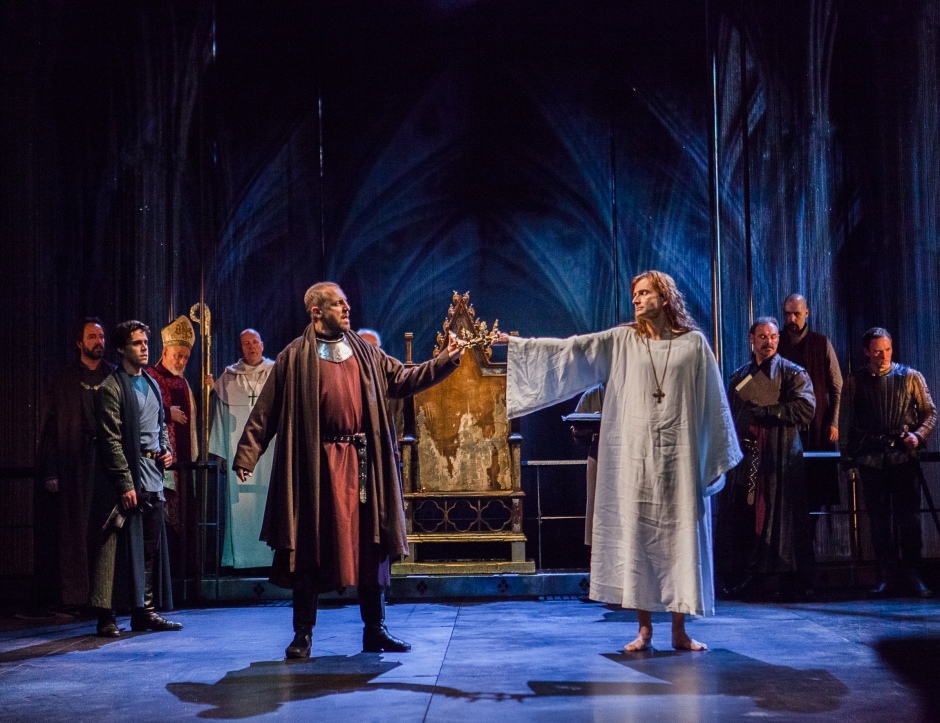 Bolingbroke (Nigel Lindsay) is defiantly faced by Richard II (David Tennant) as he takes the crown to become Henry IV, in the RSC's production of Richard II (photo: Kwame Lestrade)