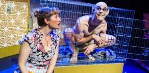 Lauren Ward and Rob Compton in Bat Boy: The Musical at Southwark Playhouse. Photo: Tristram Kenton