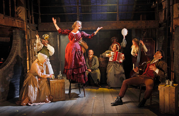Oliver-The-Watermill-Theatre-L-to-R-Rhona-McGregor-Joey-Hickman-Alice-Fearn-Cameron-Blakely-Deborah-Hewitt-back-Susannah-Van-Den-Berg-front-Rachel-Dawson-Tomm-Coles-